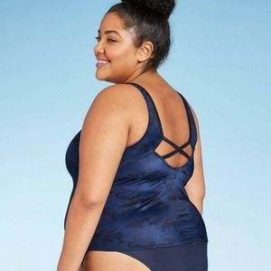 All In Motion Plus Size Tankini Top Navy Camo